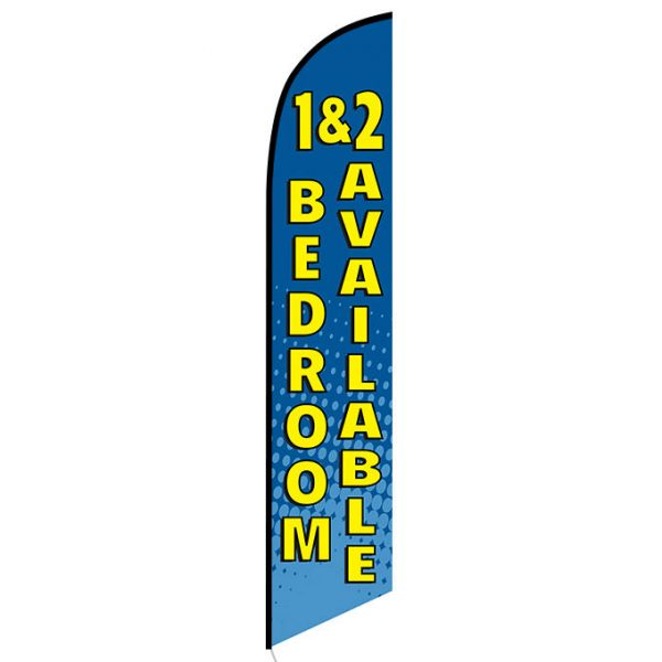 1 and 2 bedroom available Feather Flag Banner
