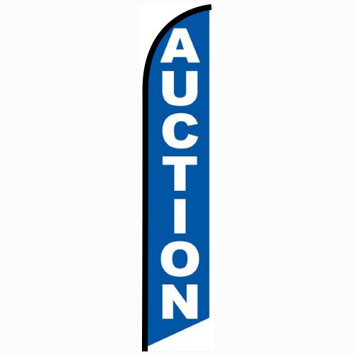Auction blue Feather Flag Banner