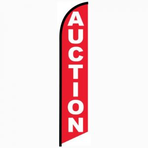 Auction red Feather Flag Banner