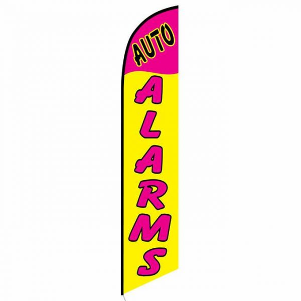 Auto Alarms Yellow and Pink Feather Flag Banner
