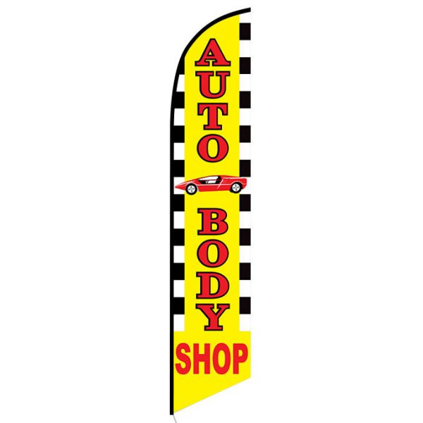 Auto Body Shop with Car Graphic Feather Flag Banner
