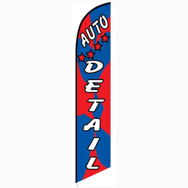 Auto detail red blue Feather Flag Banner