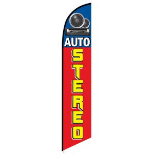 Auto Stereo blue Feather Banner Flag