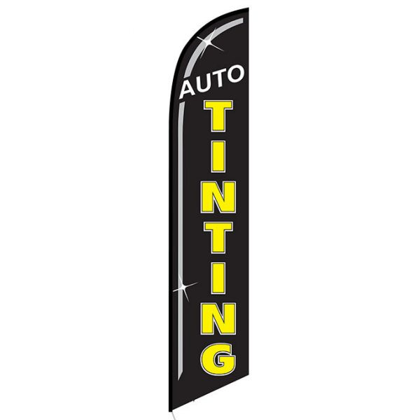 Auto Tinting Black Banner Flag
