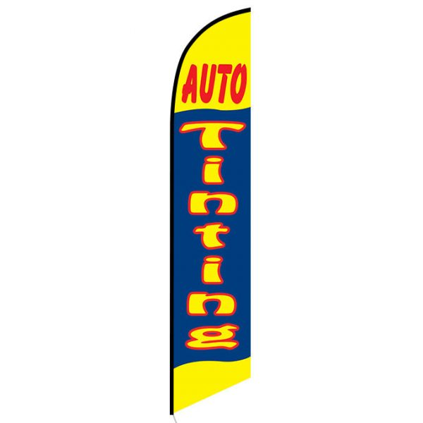 Auto Tinting yellow and blue Feather Flag Banner
