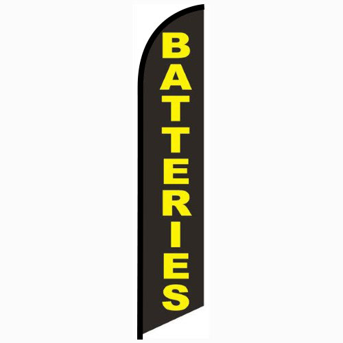 Batteries Feather Flag Banner