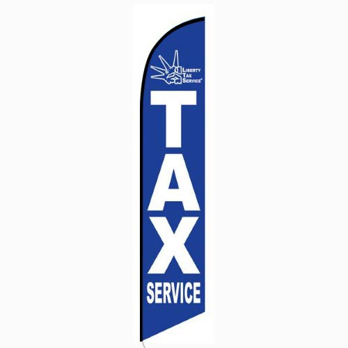 Blue Liberty Tax Feather Flag Banner