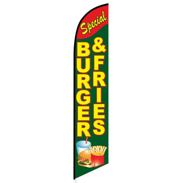Burgers Fries Feather Flag Banner