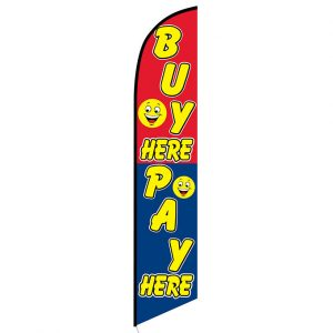 Buy Here Pay Here smiley banner flag