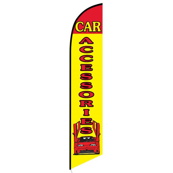 Car Accessories Yellow and Red Feather Flag Banner