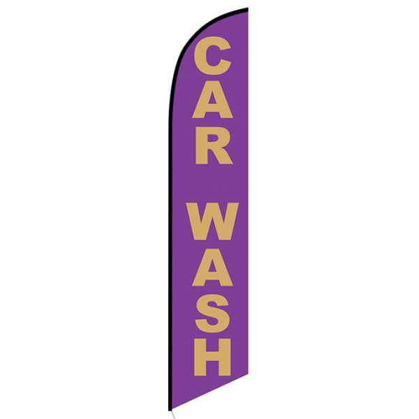 Car Wash purple gold Feather Flag Banner