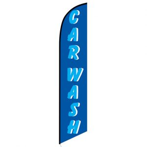 Car wash blue cyan Feather Flag Banner