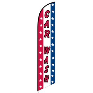 Car wash patriotic Feather Flag Banner