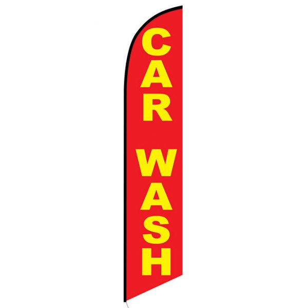 Car wash red yellow Feather Flag Banner