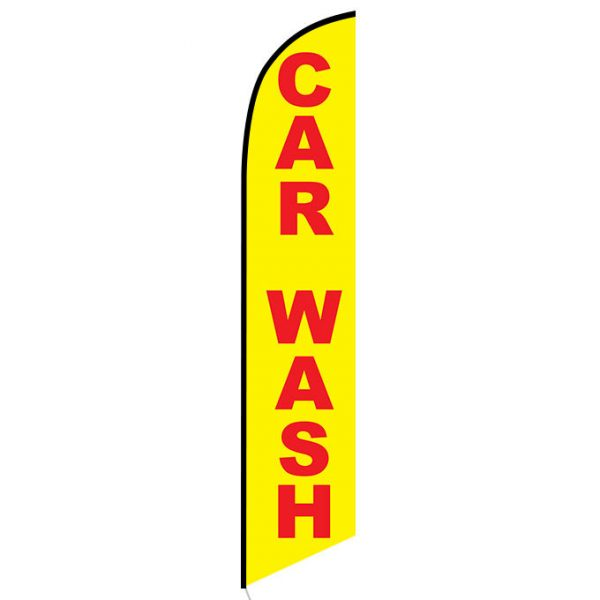 Car wash yellow red Feather Flag Banner