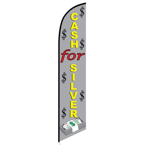 Cash for Silver Feather Flag Banner
