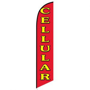 Cellular red Feather Flag Banner