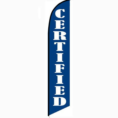 Certified blue Feather Flag Banner