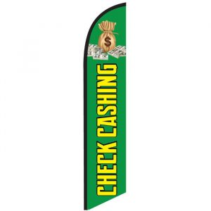 Check Cashing Green Feather Flag Banner