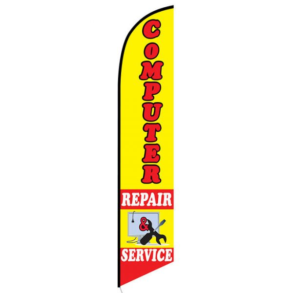 Computer repair service Feather Flag Banner