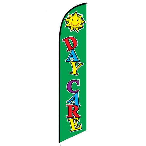 Daycare green Feather Flag Banner