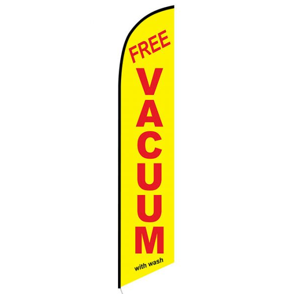 Free vacuum with wash banner flag