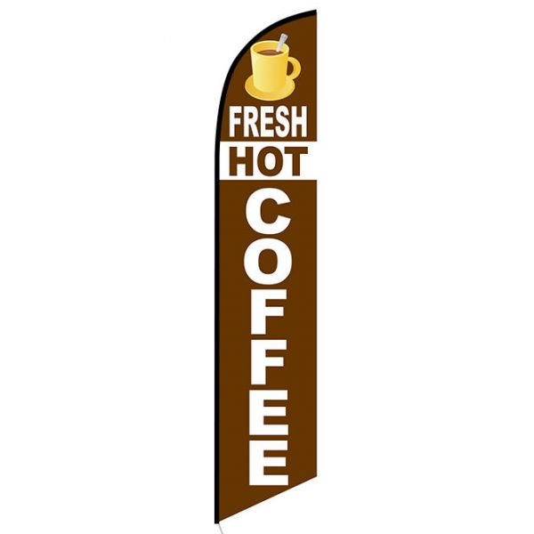 Fresh Hot Coffee Feather Flag Banner