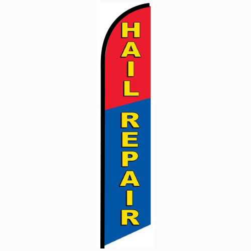 Hail Repair blue and red Feather Banner Flag