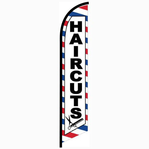 Haircuts Feather Flag Banner