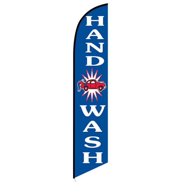 Hand wash blue Feather Flag Banner