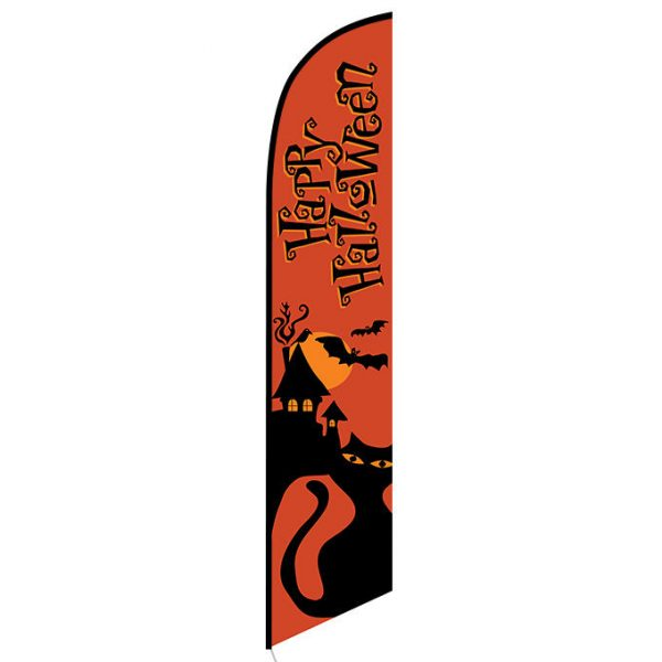 Happy Halloween orange Feather Flag Banner