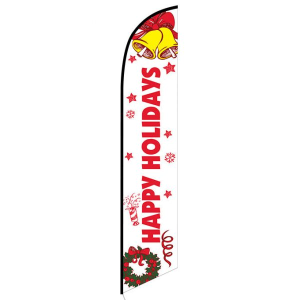 Happy Holidays (White) Feather Flag Banner