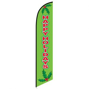 Happy Holidays green Feather Flag Banner
