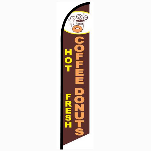 Hot Coffee Fresh Donuts Feather Flag Banner