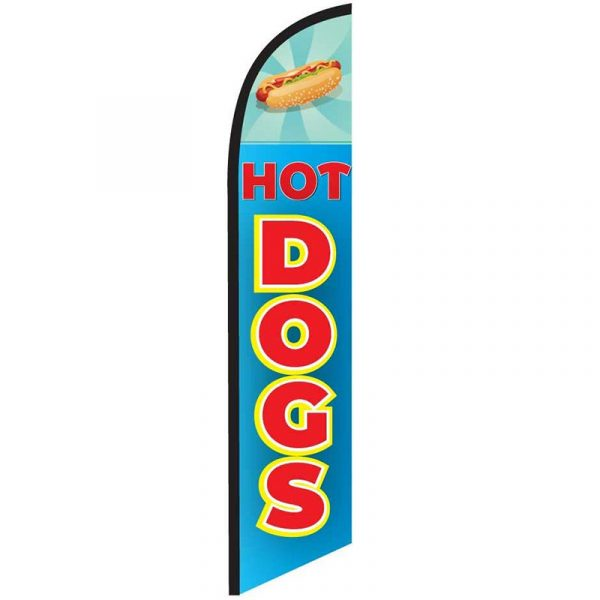 Hotdogs Blue Feather Flag Banner
