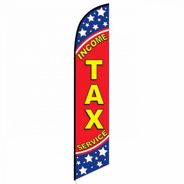 Income Tax Service Feather Flag Banner Patriotic