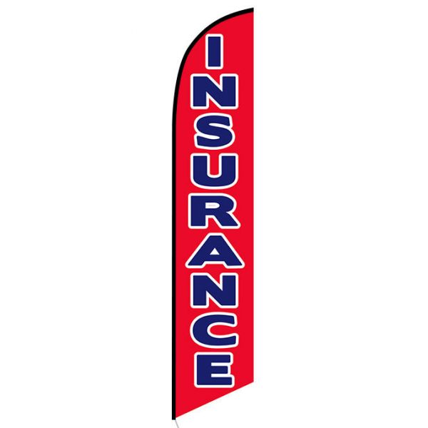 Insurance red Feather Flag Banner