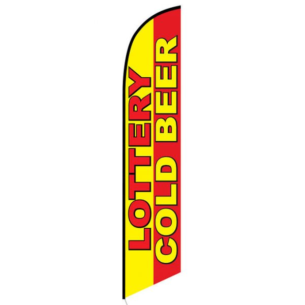 Lottery Cold Beer Feather Flag Banner
