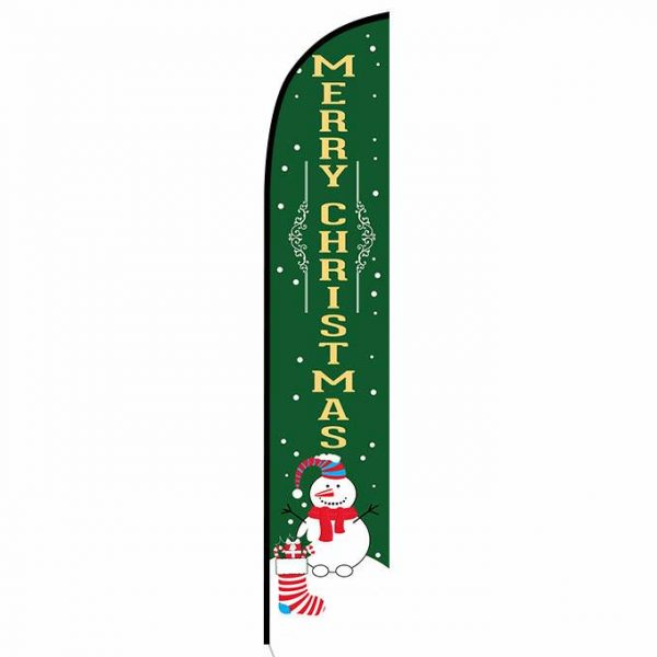 Merry Christmas green Feather Flag Banner