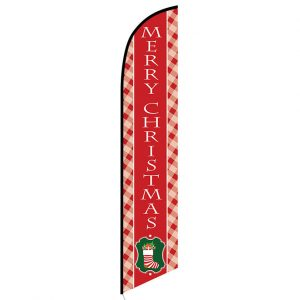 Merry Christmas red Feather Flag Banner
