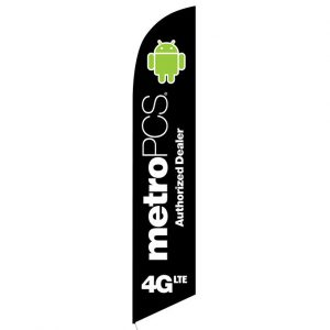MetroPCS 4GLTE Black Feather Flag Banner