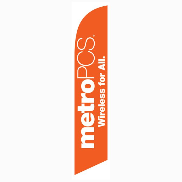 MetroPCS Wireless for All orange Feather Flag Banner