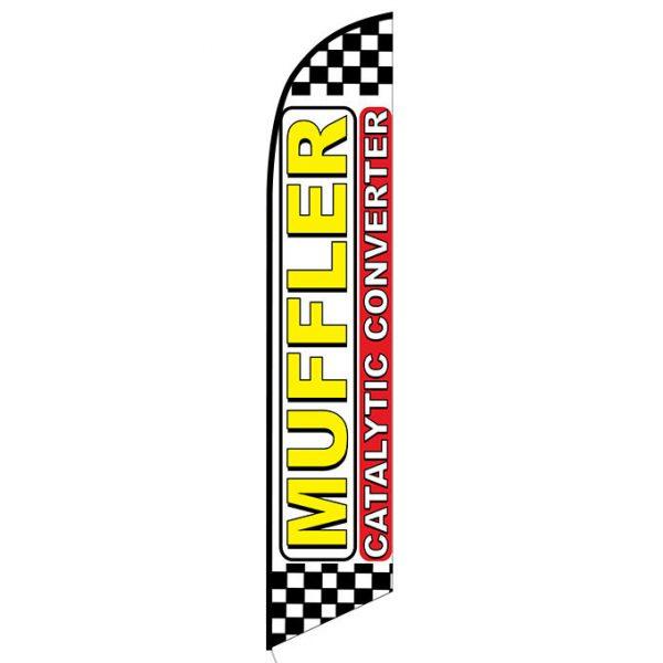 Muffler Catalytic Converter checkered Banner Flag