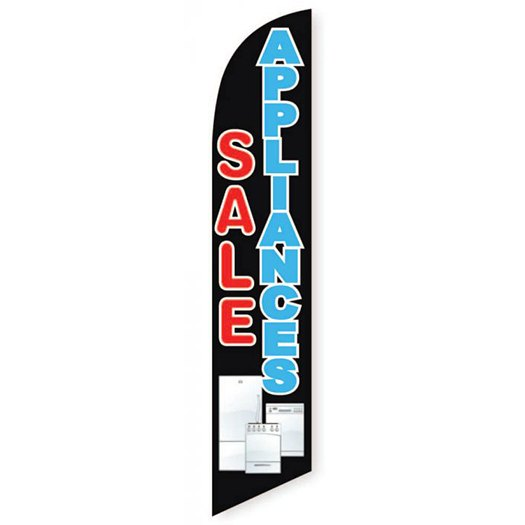 Appliances Sale Feather Flag Banner Banner, Black and Blue Design