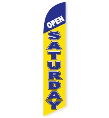 Open Saturday (Yellow & Blue) Feather Flag Banner