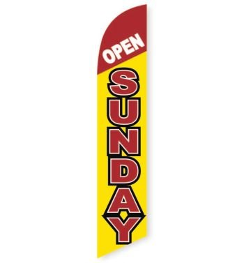 Open Sunday Feather Flag Banner