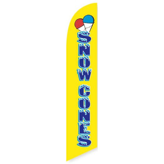 Yellow Snow Cones Feather Flag Banner
