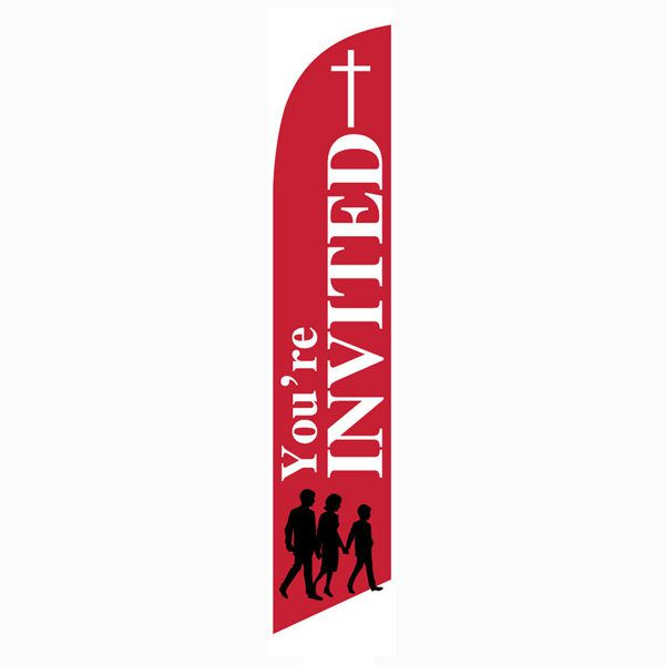 You're Invited Feather Flag Banner for Church