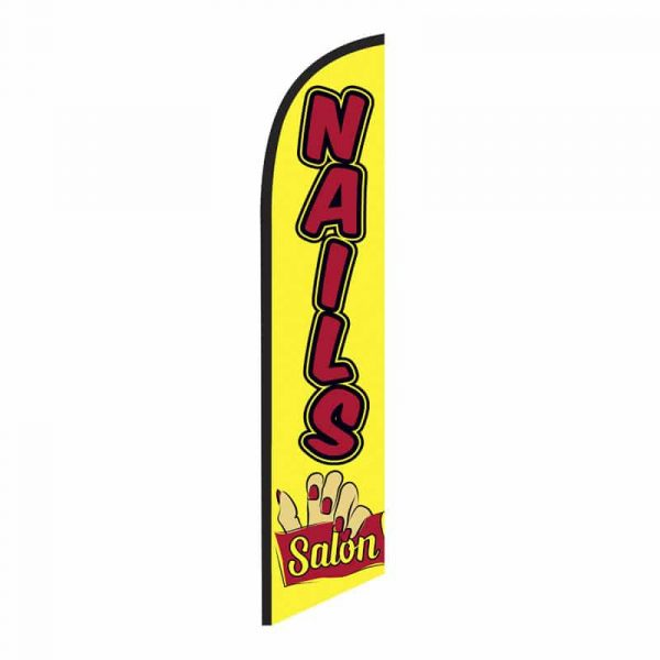 Nails Salon Feather Flag Banner Yellow
