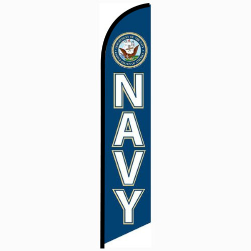 Navy Feather Flag Banner